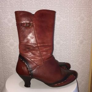 Pikolinos Red Brown Heeled Boot